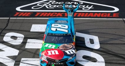 Kyle Busch hangs on at Pocono, ties Rusty Wallace on all-time list with 55th win
