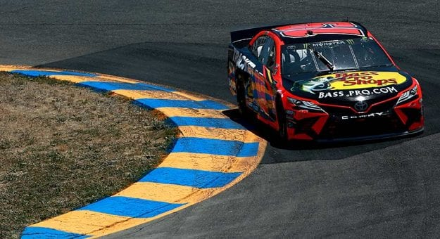 Martin Truex Jr. rounds a bend in the No. 19 Toyota at Sonoma Raceway.