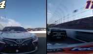 Side-by-side in-car of last lap between Hamlin, Harvick