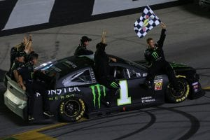 SPARTA, KENTUCKY - JULY 13: Kurt Busch, driver of the #1 Monster Energy Chevrolet, celebrates with his crew members after winning the Monster Energy NASCAR Cup Series Quaker State 400 Presented by Walmart at Kentucky Speedway on July 13, 2019 in Sparta, Kentucky. (Photo by Daniel Shirey/Getty Images)