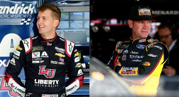 William Byron and Clint Bowyer in the garage.