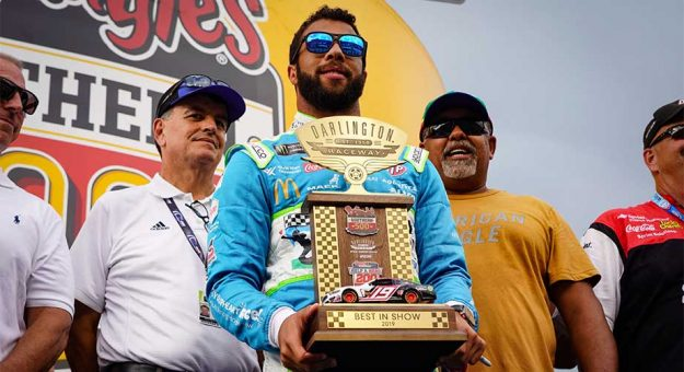 Bubba Wallace accepts trophy