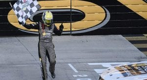 Sam Mayer celebrates his K&N East title at Dover International Speedway.