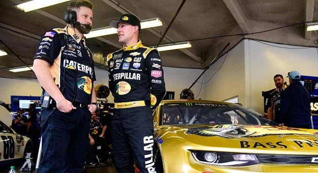 Crew chief Luke Lambert and Daniel Hemric in the garage at Daytona International Speedway