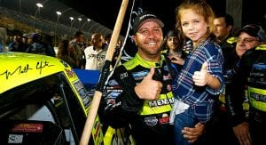 Matt Crafton celebrates with his daughter at Homestead-Miami Speedway