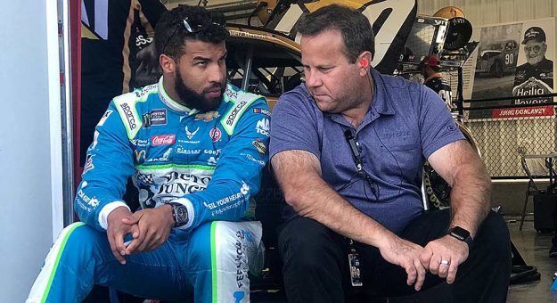 Jay Fabian and Bubba Wallace chat in the Cup Series garage at Richmond Raceway