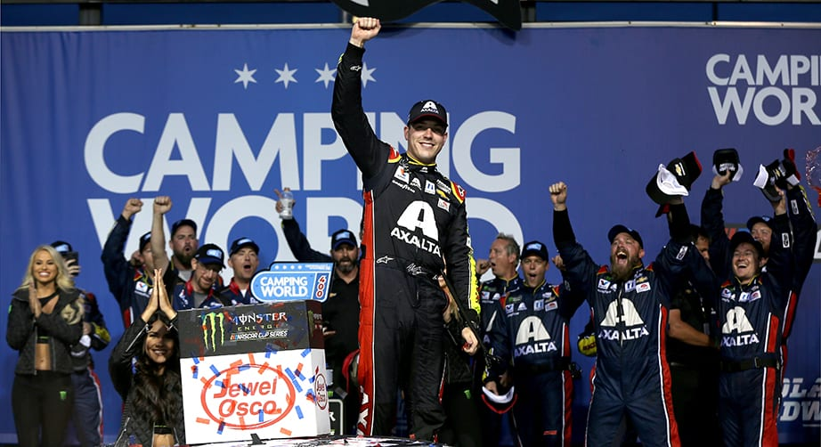 JOLIET, ILLINOIS - JUNE 30: Alex Bowman, driver of the #88 Axalta Chevrolet, celebrates in Victory Lane after winning the Monster Energy NASCAR Cup Series Camping World 400 at Chicagoland Speedway on June 30, 2019 in Joliet, Illinois. (Photo by Matt Sullivan/Getty Images) | Getty Images