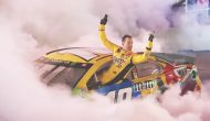 Kyle Busch gets out of car during perfect Nashville burnout