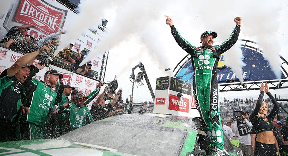 DOVER, DELAWARE - OCTOBER 06: Kyle Larson, driver of the #42 Clover Chevrolet, celebrates in Victory Lane after winning the Monster Energy NASCAR Cup Series Drydene 400 at Dover International Speedway on October 06, 2019 in Dover, Delaware. (Photo by Matt Sullivan/Getty Images) | Getty Images