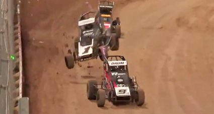 Bell, Larson take wild rides during midget races in New Zealand
