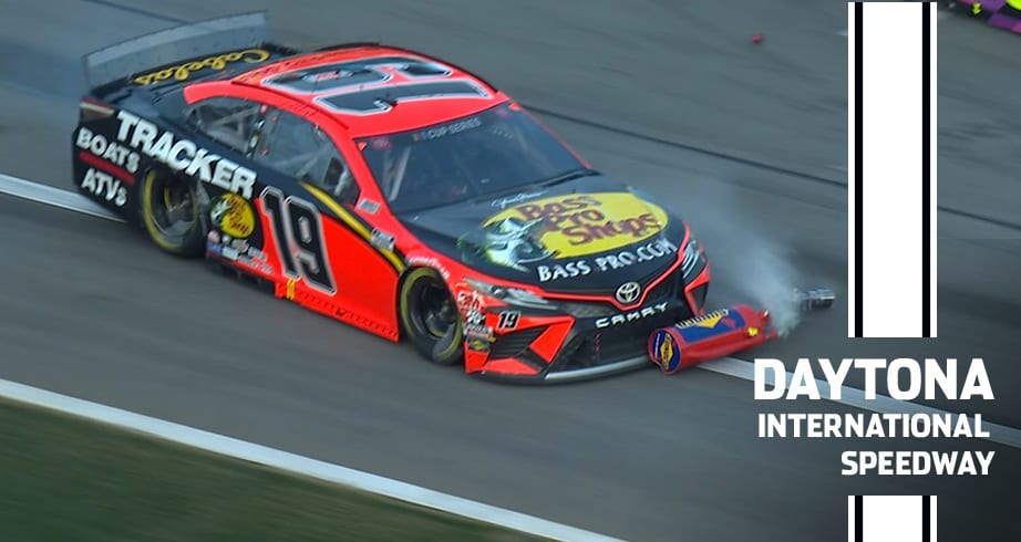 Watch: Truex runs over Elliott's fuel can