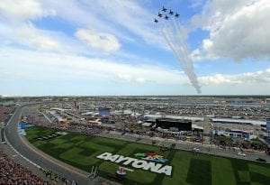 DAYTONA BEACH, FLORIDA - FEBRUARY 16: The United States Air Force Thunderbirds perform a flyover during the NASCAR Cup Series 62nd Annual Daytona 500 at Daytona International Speedway on February 16, 2020 in Daytona Beach, Florida. (Photo by Mike Ehrmann/Getty Images) | Getty Images