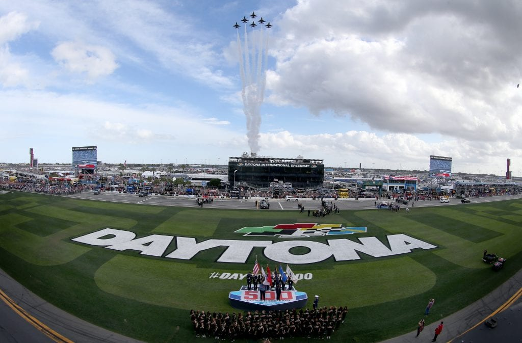 DAYTONA BEACH, FLORIDA - FEBRUARY 16: The United States Air Force Thunderbirds perform a flyover during the NASCAR Cup Series 62nd Annual Daytona 500 at Daytona International Speedway on February 16, 2020 in Daytona Beach, Florida. (Photo by Brian Lawdermilk/Getty Images) | Getty Images