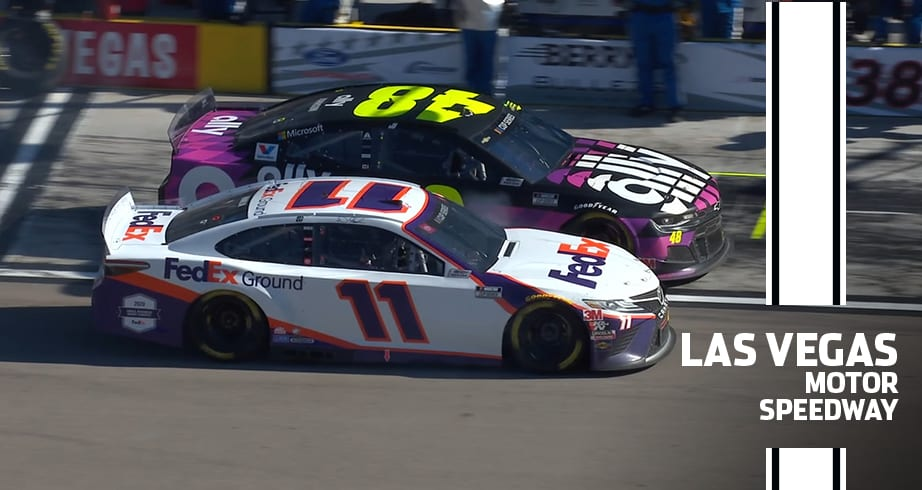 Hamlin and Johnson with a close call on pit road