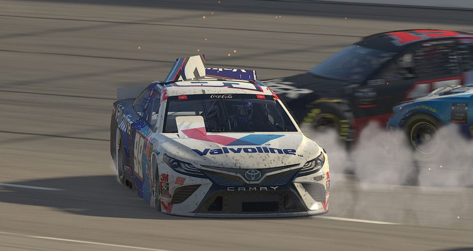 Wild wreck breaks out in eNASCAR Coca-Cola series at Auto Club Speedway