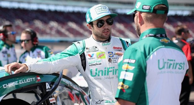AVONDALE, ARIZONA - MARCH 07: Chase Elliott, driver of the #9 UniFirst Chevrolet, stands on the grid during qualifying for the NASCAR Cup Series FanShield 500 at Phoenix Raceway on March 07, 2020 in Avondale, Arizona. (Photo by Christian Petersen/Getty Images)   Getty Images