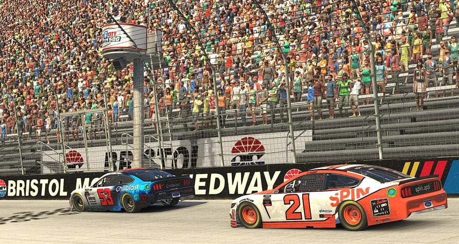 Ryan Luza wins green-white-checkered finish at virtual Bristol