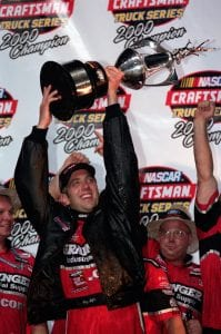 13 Oct 2000: Greg Biffle #50 holds up the trophy after winning the O''Reilly 400, part of the NASCAR Craftsman Truck Series at the Texas Motorspeedwaqy in Ft. Worth Texas.Mandatory Credit: Jon Ferrey /Allsport