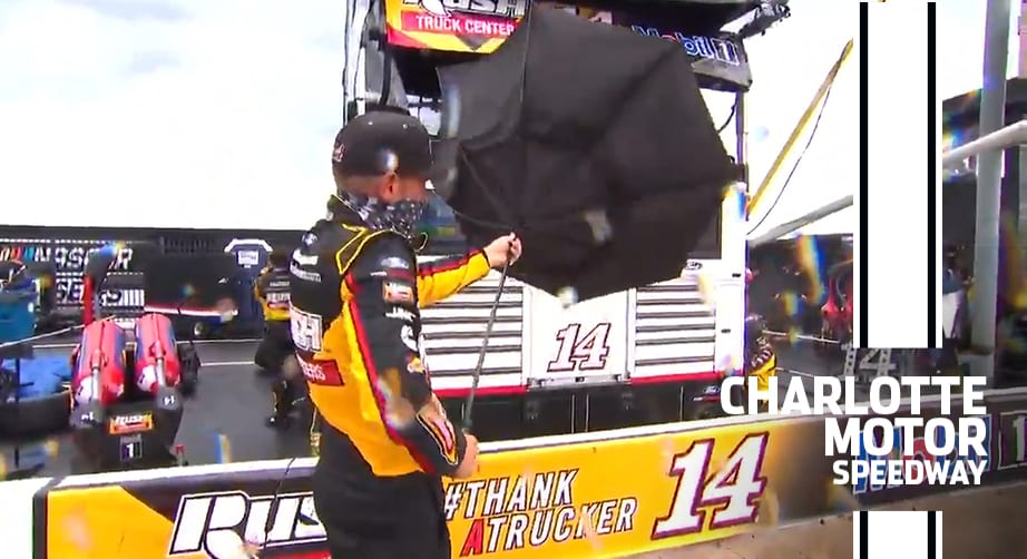 Rain-deer games? Clint Bowyer breaks Jamie Little's umbrella