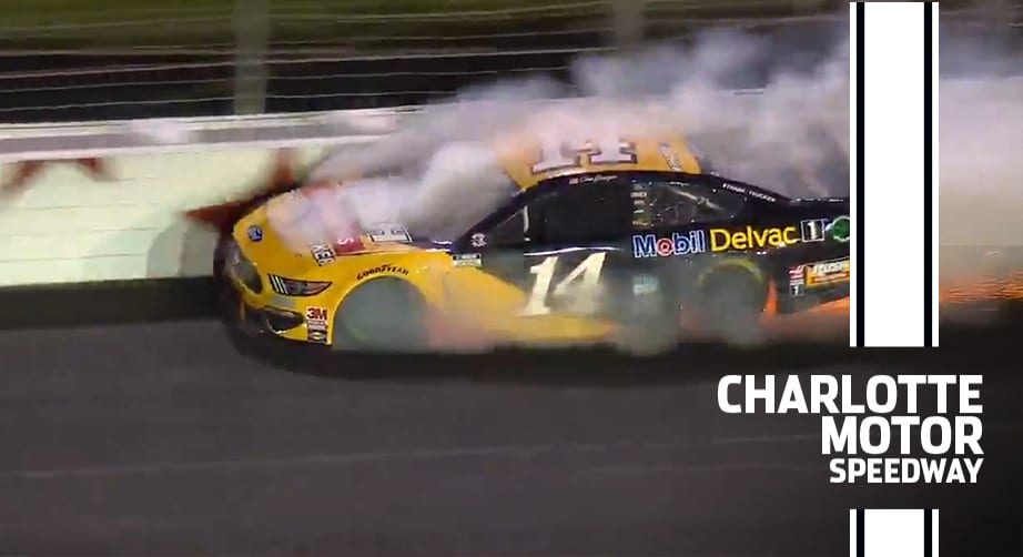 Bowyer makes hard contact with the wall at Charlotte