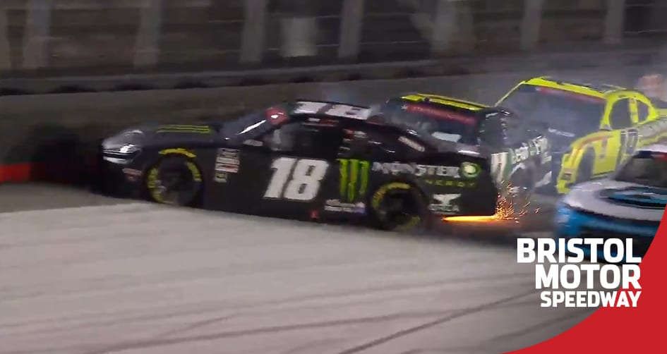Herbst spins on late restart, ends up out of race at Bristol