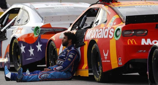 HAMPTON, GEORGIA - JUNE 07: Bubba Wallace, driver of the #43 McDonald's Chevrolet, sits on the grid after the NASCAR Cup Series Folds of Honor QuikTrip 500 at Atlanta Motor Speedway on June 07, 2020 in Hampton, Georgia. (Photo by Chris Graythen/Getty Images)   Getty Images