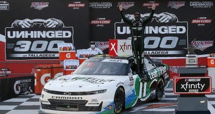 Late restart pushes Justin Haley to first Xfinity win at Talladega