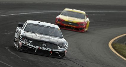Aric Almirola, Joey Logano take stages in Cup Series race at Pocono Raceway