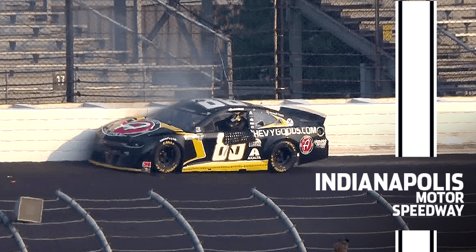 Bowman makes heavy contact with the wall late at Indy