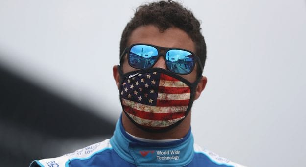 INDIANAPOLIS, INDIANA - JULY 05:  Bubba Wallace, driver of the #43 World Wide Technology Chevrolet, looks on from the grid prior to the NASCAR Cup Series Big Machine Hand Sanitizer 400 Powered by Big Machine Records at Indianapolis Motor Speedway on July 05, 2020 in Indianapolis, Indiana. (Photo by Chris Graythen/Getty Images) | Getty Images
