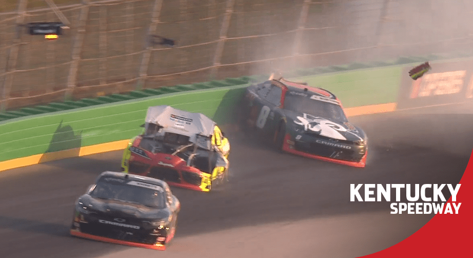 Xfinity Series race with a wreck on Lap 1, Jeb Burton spins