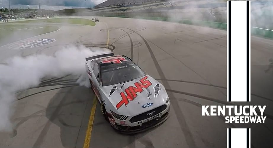 Cole Custer breaks out first career burnout at Kentucky