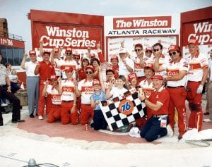 HAMPTON, GA - MAY 11, 1986: Bill Elliott's 'home track', Atlanta International Raceway, hosted The Winston in 1986, the only time that special event was not held at Charlotte Motor Speedway. Elliott's Coors-Melling Ford Thunderbird won $240,000 by finishing nearly three seconds ahead of Dale Earnhardt. (Photo by ISC Archives/CQ-Roll Call Group via Getty Images)