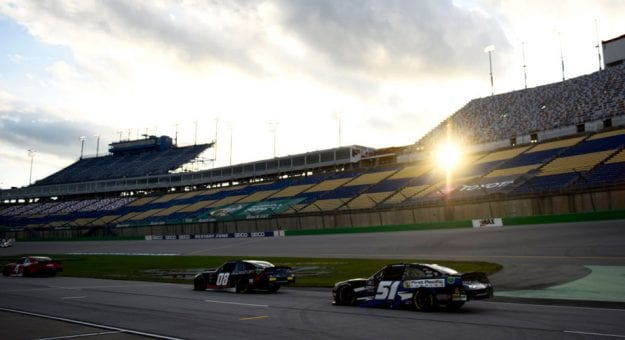 Jeremy Clements No. 51 drives in sunset at Kentucky