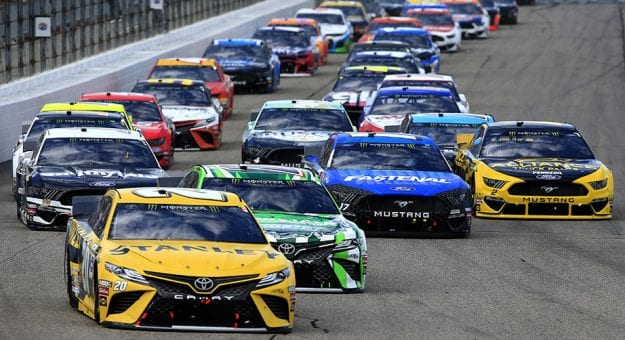 LOUDON, NEW HAMPSHIRE - JULY 21: Erik Jones, driver of the #20 STANLEY Toyota, leads a pack of cars during the Monster Energy NASCAR Cup Series Foxwoods Resort Casino 301 at New Hampshire Motor Speedway on July 21, 2019 in Loudon, New Hampshire. (Photo by Chris Trotman/Getty Images) | Getty Images