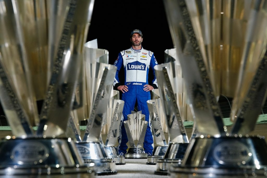 HOMESTEAD, FL - NOVEMBER 20: Jimmie Johnson, driver of the #48 Lowe's Chevrolet, poses for a portrait after winning the 2016 NASCAR Sprint Cup Series Championship at Homestead-Miami Speedway on November 20, 2016 in Homestead, Florida. (Photo by Jonathan Ferrey/NASCAR via Getty Images)