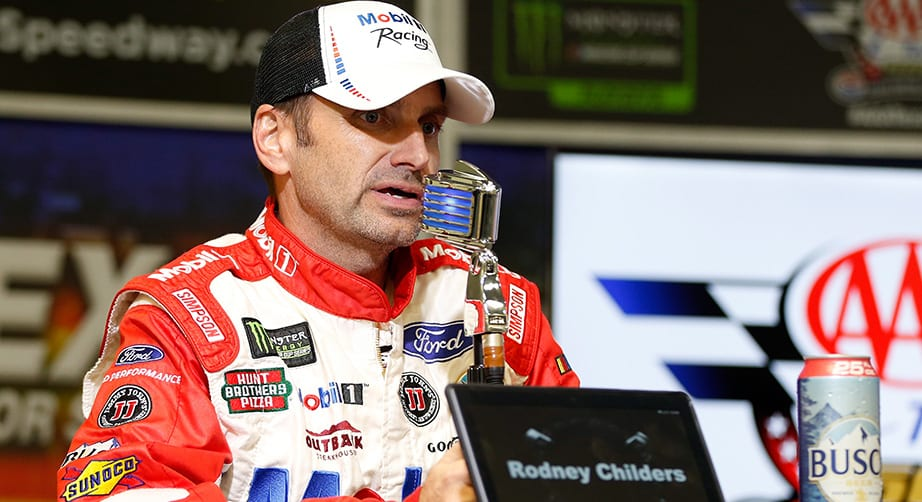FORT WORTH, TX - NOVEMBER 04: Rodney Childers, crew chief for the #4 Mobil 1 Ford, interacts with media during a post-race press conference after winning the Monster Energy NASCAR Cup Series AAA Texas 500 at Texas Motor Speedway on November 4, 2018 in Fort Worth, Texas. (Photo by Brian Lawdermilk/Getty Images) | Getty Images