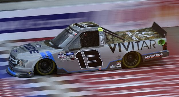 BROOKLYN, MICHIGAN - AUGUST 07: Johnny Sauter, driver of the #13 Vivitar/Bence Motor Sales Ford, drives during the NASCAR Gander RV & Outdoors Truck Series Henry Ford Health System 200 at Michigan International Speedway on August 07, 2020 in Brooklyn, Michigan. (Photo by Jared C. Tilton/Getty Images)   Getty Images