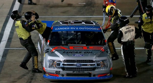 BRISTOL, TENNESSEE - SEPTEMBER 17: Grant Enfinger, driver of the #98 ADS/Lucas Oil/Curb Records Ford, pits during the NASCAR Gander RV & Outdoors Truck Series UNOH 200 presented by Ohio Logistics at Bristol Motor Speedway on September 17, 2020 in Bristol, Tennessee. (Photo by Sean Gardner/Getty Images) | Getty Images
