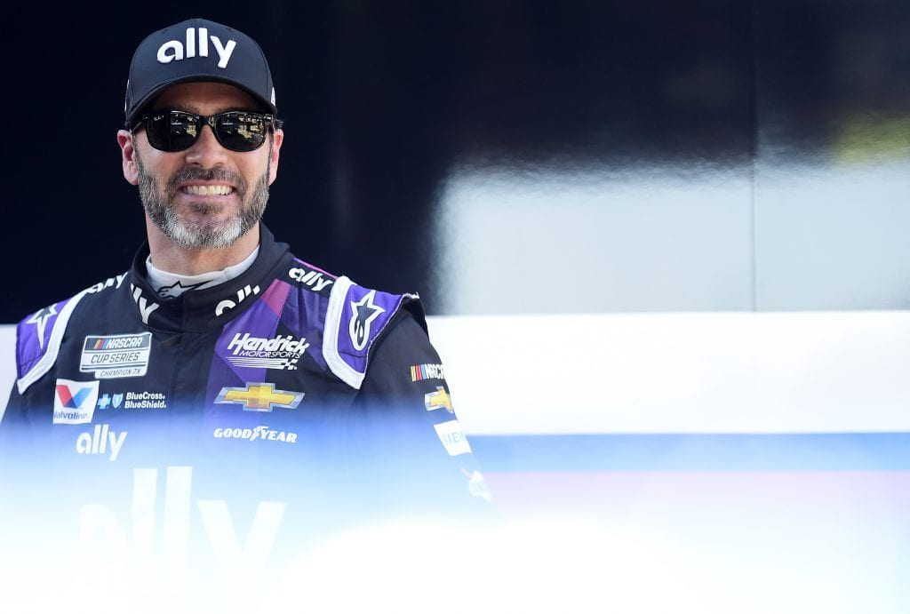 DAYTONA BEACH, FLORIDA - FEBRUARY 08: Jimmie Johnson, driver of the #48 Ally Chevrolet, stands in the garage area during practice for the NASCAR Cup Series 62nd Annual Daytona 500 at Daytona International Speedway on February 08, 2020 in Daytona Beach, Florida. (Photo by Jared C. Tilton/Getty Images) | Getty Images