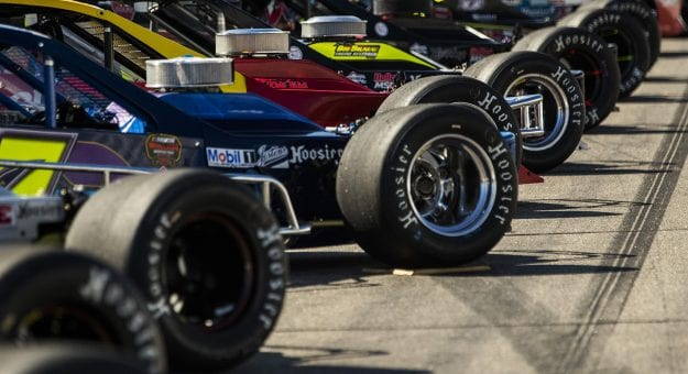 Cars line up before the Musket 200 Presented by Whelen for the NASCAR Whelen Modified Tour at New Hampshire Motor Speedway in Loudon, New Hampshire on September 12, 2020. (Adam Glanzman/NASCAR)